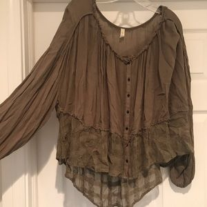 Free People Camo Green Blouse